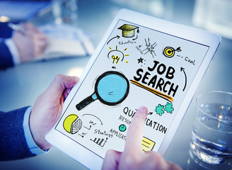 Businessman Digital Devices Job Search Online Concept