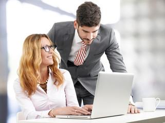 Teamwork with laptop