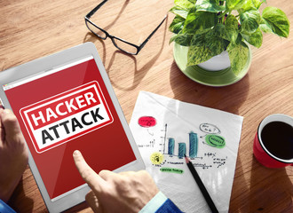 Warning Hacker Attack Digital Device Wireless Browsing Concept