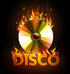 Disco fire background. Disck or record