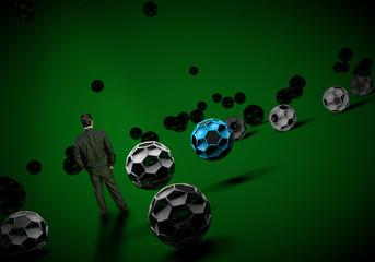 businessman standing footballl soccer 3d
