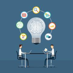 business team meeting to creative idea