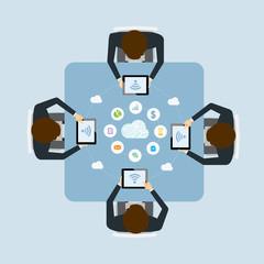 business teamwork meetimg online by cloud   technology