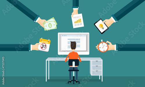 businessman  working on line form order - 75571415