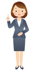 説明する女性 スーツ