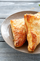 Apple turnover  two on plate