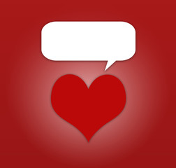 Red Hearts and speech bubble on red background
