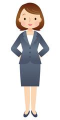 腰に手をあてた女性 スーツ