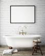 Leinwanddruck Bild - mock up poster frame in vintage bathroom, interior background