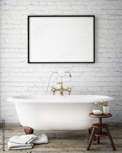 Leinwanddruck Bild mock up poster frame in vintage bathroom, interior background
