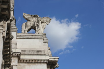 Winged horse statue on the top of Milan Central Station