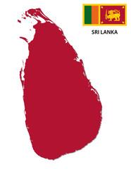 sri lanka map with flag
