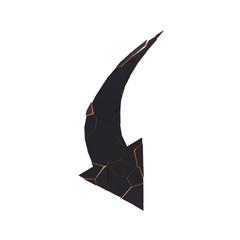 Black broken arrow pointer with reflection