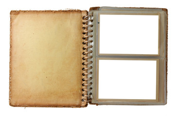 photo album, opened with two pictures, isolated on white