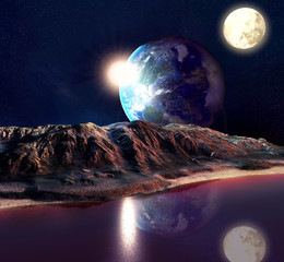 Alien Planet With Earth Moon And Mountains .