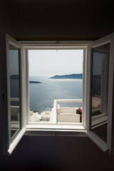 Window with caldera view in Santorini hotel