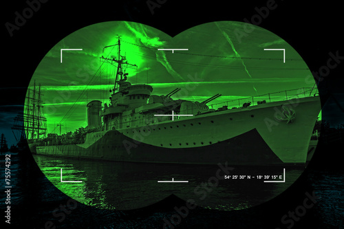 Night vision watching at a warship - Concept Photo.