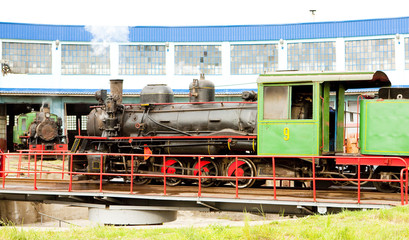 steam locomotive in depot, Kostolac, Serbia
