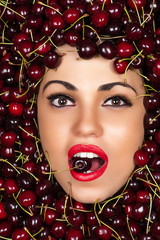 beautiful face in cherry