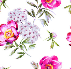 Modern bright floral blossom seamless pattern
