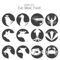Icons Set : Animal Meat Seafood and Eating