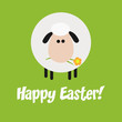 White Sheep With A Flower Modern Flat Design Easter Card