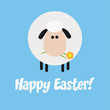 Funny White Sheep With A Flower Modern Flat Design Easter Card