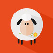 White Sheep With A Flower.Modern Flat Design Icon Illustration 4