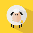 White Sheep With A Flower.Modern Flat Design Icon Illustration 3