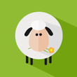 Sheep With A Flower.Modern Flat Design Icon  Illustration 1