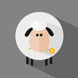 White Sheep With A Flower.Modern Flat Design Icon Illustration 2