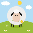 White Sheep With Flower On A Hill.Modern Flat Design
