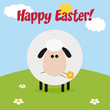 Sheep With Flower On A Hill Modern Flat Design Easter Card
