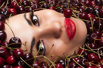 fashion beautiful face in cherry
