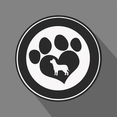 Love Paw Print Black Circle Icon.Modern Flat Design