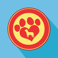 Love Paw Print Circle Icon.Modern Flat Design