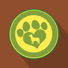 Love Paw Print Green Circle Icon.Modern Flat Design