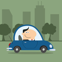 Smiling Manager Driving Car To Work In City.Modern Flat Design
