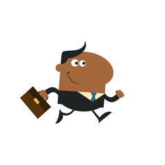 African American Manager With Briefcase Running To Work