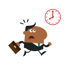 African American Hurried Manager Running Past A Clock Modern