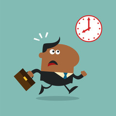 African American Manager Running Past A Clock Modern Flat Design