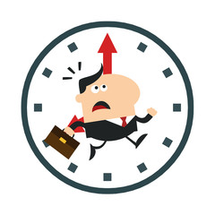Hurried Manager Running In A Clock Modern Flat Design
