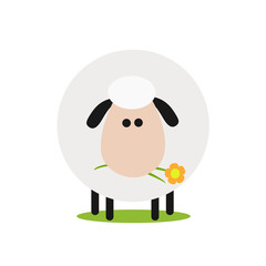 Cute White Sheep With A Flower.Modern Flat Design