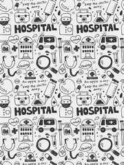 Hospital elements doodles hand drawn line icon,eps10