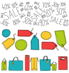 Shopping sale labels and bags