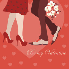 Dating man and woman, greeting card