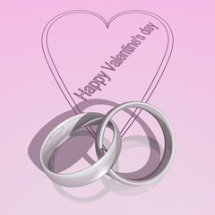 Two silver rings on a pink surface for Valentine'sday