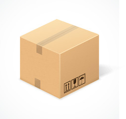 Closed cardboard box, isolated on white