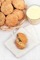 Oatmeal cookies and milkshake