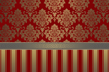 Vintage gold and red floral background.